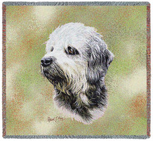 Dandie Dinmont - Robert May - Lap Square Cotton Woven Blanket Throw - Made in the USA (54x54) Lap Square