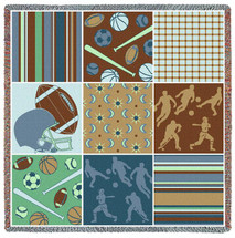 Pure Country Weavers - Nine Patch Sports Woven Throw Blanket With Artistic Textured Design Cotton USA 54x54 Lap Square