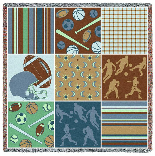 Sports - Nine Patch - Football Baseball Basketball Soccer Hocky - Lap Square Cotton Woven Blanket Throw - Made in the USA (54x54) Lap Square