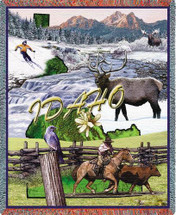 State of Idaho - Cotton Woven Blanket Throw - Made in the USA (72x54) Tapestry Throw