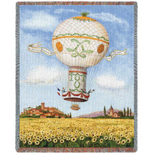 Balloon Flight Over Sunflowers Woven Large Soft Comforting Throw Blanket With Artistic Textured Design Cotton USA 72x54 Tapestry Throw