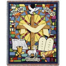 Sunday School - Cotton Woven Blanket Throw - Made in the USA (72x54) Tapestry Throw