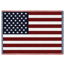 United States American Flag - Cotton Woven Blanket Throw - Made in the USA (50x35) Afghan