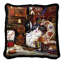 Maggie The Messmaker Cat by Charles Wysocki Pillow