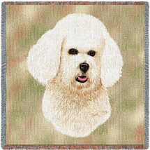 Bichon Frise - Robert May - Lap Square Cotton Woven Blanket Throw - Made in the USA (54x54) Lap Square