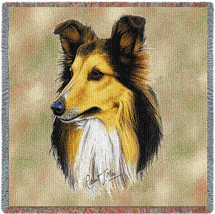 Shetland Sheepdog - Robert May - Lap Square Cotton Woven Blanket Throw - Made in the USA (54x54) Lap Square