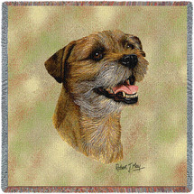 Border Terrier - Robert May - Lap Square Cotton Woven Blanket Throw - Made in the USA (54x54) Lap Square