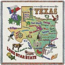 State of Texas - Lap Square Cotton Woven Blanket Throw - Made in the USA (54x54) Lap Square