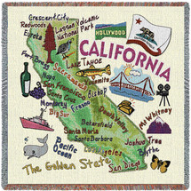 State of California - Lap Square Cotton Woven Blanket Throw - Made in the USA (54x54) Lap Square