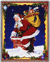 Christmas Down I Go - Joseph Holodook - Cotton Woven Blanket Throw - Made in the USA (72x54) Tapestry Throw