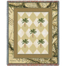 British Colonial Palms - Cotton Woven Blanket Throw - Made in the USA (72x54) Tapestry Throw