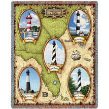 Lighthouses of the Southeast - Harbortown, Bodie Island, Cape Hatteras, Tybee Island, St Augustine - Cotton Woven Blanket Throw - Made in the USA (72x54) Tapestry Throw