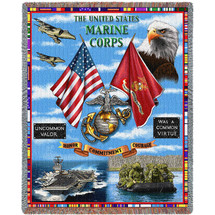US Marine Corps - Land Sea Air - Tapestry Throw