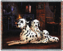 Dalmatian with Puppies - Robert May - Cotton Woven Blanket Throw - Made in the USA (72x54) Tapestry Throw
