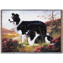 Border Collie - Robert May - Cotton Woven Blanket Throw - Made in the USA (72x54) Tapestry Throw