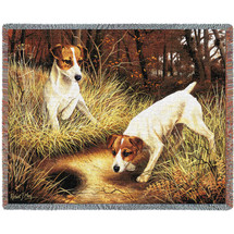 Jack Russell Terrier - Robert May - Cotton Woven Blanket Throw - Made in the USA (72x54) Tapestry Throw