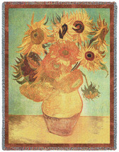 Vase With Twelve Sunflowers - Vincent van Gogh - Cotton Woven Blanket Throw - Made in the USA (72x54) Tapestry Throw