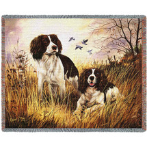 English Springer Spaniel - Robert May - Cotton Woven Blanket Throw - Made in the USA (72x54) Tapestry Throw