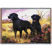 Labrador Retriever Black Lab - Robert May - Cotton Woven Blanket Throw - Made in the USA (72x54) Tapestry Throw