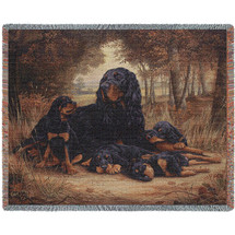 Gordon Setter - Robert May - Cotton Woven Blanket Throw - Made in the USA (72x54) Tapestry Throw