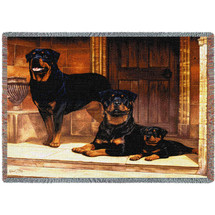 Rottweiler - Robert May - Cotton Woven Blanket Throw - Made in the USA (72x54) Tapestry Throw