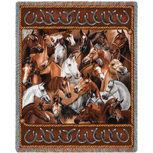 Bridled Stampede - Tapestry Throw