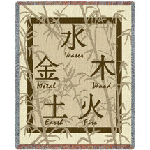 Feng Shui Chinese Symbols for Elements - Cotton Woven Blanket Throw - Made in the USA (72x54) Tapestry Throw