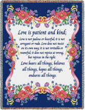 Love is Patient Love is Kind - Scriptures - 1 Corinthians 13 - Tapestry Throw