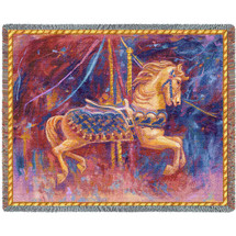 Carousel Horse Merry Go Round Tapestry Throw