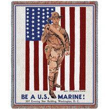 US Marine Corps - World War 1 Vintage Recruitment Poster - Tapestry Throw