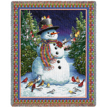 Plaid Snowman - Lynn Bywaters - Cotton Woven Blanket Throw - Made in the USA (72x54) Tapestry Throw