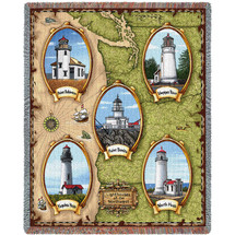 Lighthouses of the Northwest - Point Robinson, Point Bonita, Umpqua River, Noth Head, Yaquina Head - Cotton Woven Blanket Throw - Made in the USA (72x54) Tapestry Throw