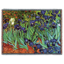 Irises - Vincent van Gogh - Cotton Woven Blanket Throw - Made in the USA (72x54) Tapestry Throw