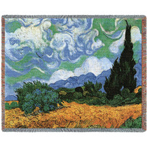 Wheat Field with Cypresses - Vincent van Gogh - Cotton Woven Blanket Throw - Made in the USA (72x54) Tapestry Throw