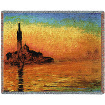 San Giorgio Maggiore At Dusk - Claude Monet - Cotton Woven Blanket Throw - Made in the USA (72x54) Tapestry Throw