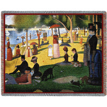 A Sunday Afternoon on the Island of La Grande Jatte - Georges Seurat - Cotton Woven Blanket Throw - Made in the USA (72x54) Tapestry Throw