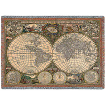 Old World Antique Map - Tapestry Throw