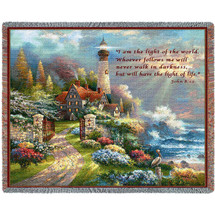 Coastal Splendor - I Am The Light of The World Whoever Follows Me Will Never Walk in Darkness - Scriptures - John 8:12 - Tapestry Throw