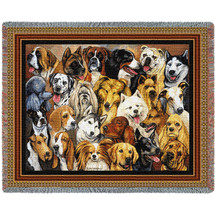 Man's Best Friend Dog Collage - Helen Vladykina - Cotton Woven Blanket Throw - Made in the USA (72x54) Tapestry Throw