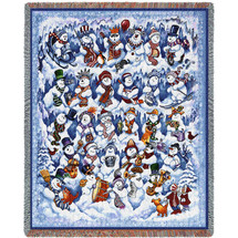Snow Folks Snowman - Bill Bell - Cotton Woven Blanket Throw - Made in the USA (72x54) Tapestry Throw