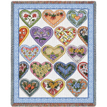 Hearts To You - Judy Hand - Cotton Woven Blanket Throw - Made in the USA (72x54) Tapestry Throw