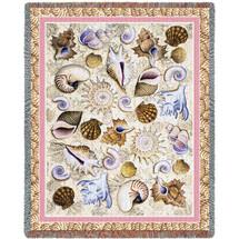 Seashells - Helen Vladykina - Cotton Woven Blanket Throw - Made in the USA (72x54) Tapestry Throw