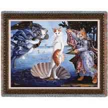 Kitty on a Half Shell - Sandro Botticelli's The Birth of Venus Parody - Tapestry Throw