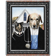 Animal Gothic - Grant Wood's American Gothic Parody - Melinda Copper - Cotton Woven Blanket Throw - Made in the USA (72x54) Tapestry Throw