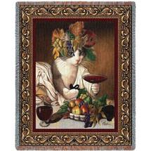 Bacchus Cat Wine Drinking - Michelangelo Merisi da Caravaggio's Bacchus Parody - Tapestry Throw