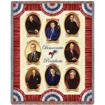 Great Democrat Presidents - Carter Clinton Kennedy Jackson Johnson Roosevelt Truman Wilson - Cotton Woven Blanket Throw - Made in the USA (72x54) Tapestry Throw