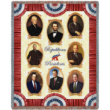 Great Republicans - Jefferson, Lincoln, Hoover, T. Roosevelt, Eisenhower, G.H.W Bush Reagan, G.W. Bush - Tapestry Throw