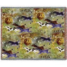 Horses of Zia - Southwest Cave Rock Art - Ginny Hogan - Cotton Woven Blanket Throw - Made in the USA (72x54) Tapestry Throw