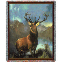 Monarch Of The Glen - Royal 12 Point Stag - Edwin Henry Landseer - Cotton Woven Blanket Throw - Made in the USA (72x54) Tapestry Throw