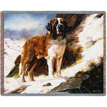 Saint Bernard - Robert May - Cotton Woven Blanket Throw - Made in the USA (72x54) Tapestry Throw